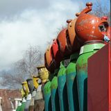 BOC painted metal gas cylinders in the open. A shot of multicolour BOC gas cylinders sitting on a truck in a residential street in the UK Royalty Free Stock Image