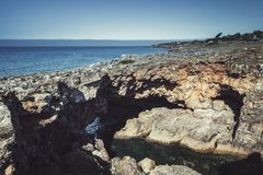 boca执行地域 地狱` s嘴峡谷,被定调子的照片 库存照片