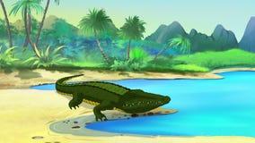 Boca abierta del cocodrilo grande stock de ilustración