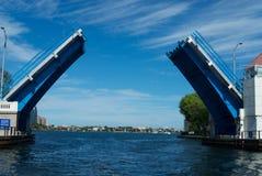 boca camino吊桥实际佛罗里达的raton 免版税库存照片