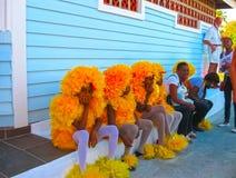 Boca Chica, Доминиканская Республика - 12-ое февраля 2013: Проживающие люди празднуют карибскую масленицу Стоковые Фотографии RF