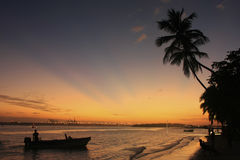Boca Chica beach at sunset Royalty Free Stock Images