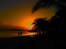 Boca Chica beach at sunset, Dominican Republic Stock Photography