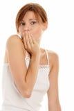 Boca da coberta da mulher imagens de stock royalty free