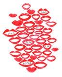 Boca das ilustrações da aquarela e para bisbilhotar blá - blá Bordos vermelhos bonitos da aquarela ilustração royalty free