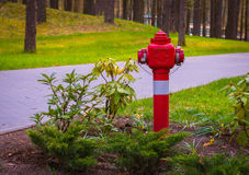 Boca de incêndio de fogo no parque, boca de incêndio de fogo vermelho em Druskinikai, Lituânia abril, 25 2017 Imagens de Stock Royalty Free