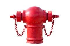 Boca de incêndio de fogo vermelho isolada no branco Imagens de Stock