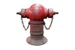 Boca de incêndio de fogo vermelho velha com a corrente isolada no fundo branco Fotos de Stock Royalty Free