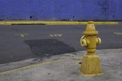 Boca de incêndio de fogo amarela velha em Escazu, San Jose foto de stock royalty free