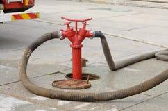 Boca de incendios - un dispositivo para muestrear el agua Imagen de archivo libre de regalías