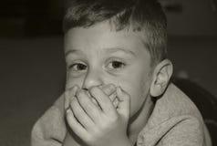 Boca de la cubierta del niño Imagen de archivo libre de regalías