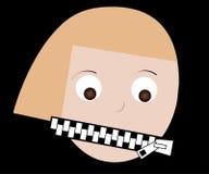Boca de la mujer cerrada encima de la cremallera cerrada Foto de archivo