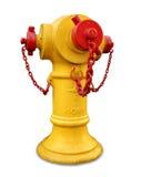 Boca de riego de fuego amarilla aislada Fotografía de archivo