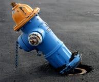 Boca de riego de fuego azul y amarilla Imagen de archivo libre de regalías