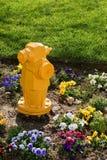 Boca de riego de fuego con las flores Imagen de archivo