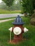 Boca de riego de fuego patriótica Imagen de archivo libre de regalías