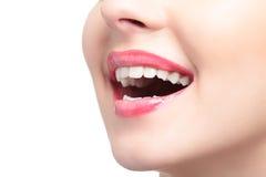 Boca de riso da mulher Fotografia de Stock