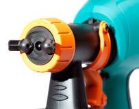 Boca de un cierre eléctrico del arma de espray para arriba en un fondo blanco Imagen de archivo libre de regalías