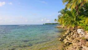 Boca del Drago beach, Panama. Deserted Boca del Drago beach on the archipelago Bocas del Toro, Panama stock footage