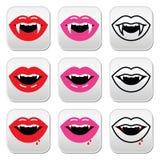 Boca del vampiro, botones de los dientes del vampiro fijados Imagenes de archivo