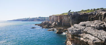 Boca do Inferno at Cascais, Portugal. Boca do Inferno (Portuguese for Hell's Mouth) is a chasm located in the seaside cliffs close to Cascais, District of Lisbon Royalty Free Stock Photos