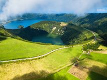 Boca do Inferno - lakes in Sete Cidades volcanic craters on San Miguel island, Azores. Portugal stock photo