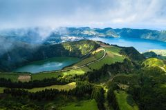 Boca do Inferno viewpoint, Lagoa Verde and Lagoa Azul - lakes in Sete Cidades volcanic craters on San Miguel island, Azores. Boca do Inferno viewpoint, Lagoa royalty free stock images