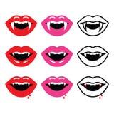 Boca do vampiro, ícones dos dentes do vampiro ajustados Imagens de Stock