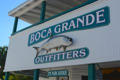 Boca Grande, Florida. Boca Grande shop outfitters sign post, Florida Royalty Free Stock Images