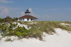 Boca Grande Lighthouse. With Sand Dune in the Foreground, Gasparilla Island State Park, Florida Gulf Coast Royalty Free Stock Photography