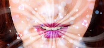 Boca hermosa de la muchacha que respira luces blancas y el cristal abstractos Foto de archivo libre de regalías