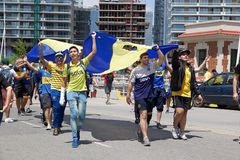 Boca Juniors suppoters in Buenos Aires, Argentina stock photos