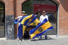 Boca Juniors suppoters in Buenos Aires, Argentina royalty free stock photo