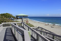 Boca Raton Beach Pavilion Walkway. BOCA RATON, FLORIDA - FEBRUARY 1:  A handicapped accessible walkway and pavilion leading to a beautiful public beach on a Stock Photos
