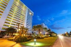 Boca Raton streets at night, Florida.  stock images