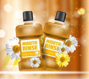 Boca Rinse Design Cosmetics Product Bottle con las flores stock de ilustración