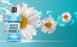 Boca Rinse Design Cosmetics Product Template para los anuncios o Magazi Foto de archivo libre de regalías