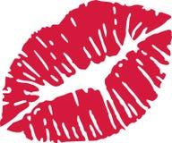 Boca roja del beso ilustración del vector