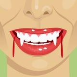 Boca sangrienta del vampiro femenino que muestra colmillos ilustración del vector