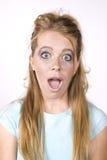 Boca sorprendida muchacha de la expresión abierta Foto de archivo libre de regalías