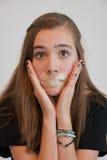 Boca sujetada con cinta adhesiva Fotografía de archivo