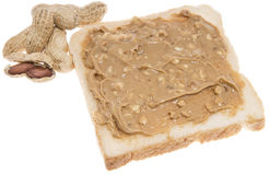 Bocadillo aislado de la mantequilla de cacahuete Imágenes de archivo libres de regalías