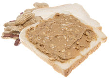 Bocadillo aislado de la mantequilla de cacahuete Imagen de archivo libre de regalías