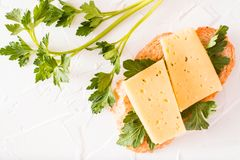 Bocadillo caliente con queso y perejil Fotografía de archivo