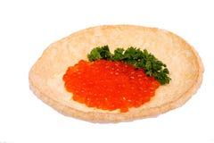 Bocadillo con el caviar rojo Foto de archivo libre de regalías