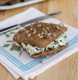 Bocadillo con el Roquefort del queso Imagen de archivo libre de regalías