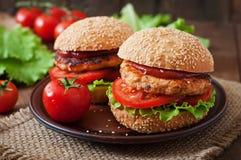 Bocadillo con la hamburguesa del pollo imagen de archivo libre de regalías