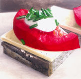 Bocadillo con la rebanada del queso y del tomate Imágenes de archivo libres de regalías