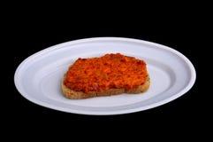 Bocadillo con la salsa picante, ajvar Foto de archivo libre de regalías