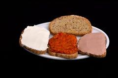 Bocadillo con la salsa picante, ajvar Foto de archivo